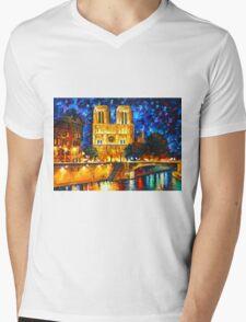 NOTRE DAME DE PARIS - Leonid Afremov CITYSCAPE Mens V-Neck T-Shirt