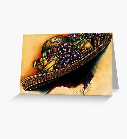 Hat with Fruit Greeting Card