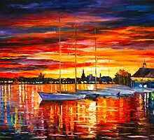 HELSINKI - SAILBOATS AT YACHT CLUB - Leonid Afremov CITYSCAPE by Leonid Afremov