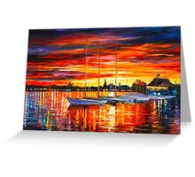 HELSINKI - SAILBOATS AT YACHT CLUB - Leonid Afremov CITYSCAPE Greeting Card