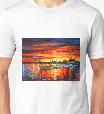 HELSINKI - SAILBOATS AT YACHT CLUB - Leonid Afremov CITYSCAPE Unisex T-Shirt
