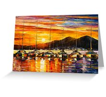 ITALY, NAPLES HARBOR - VESUVIUS - Leonid Afremov CITYSCAPE Greeting Card