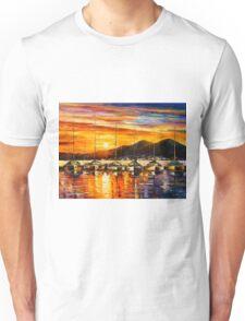 ITALY, NAPLES HARBOR - VESUVIUS - Leonid Afremov CITYSCAPE Unisex T-Shirt