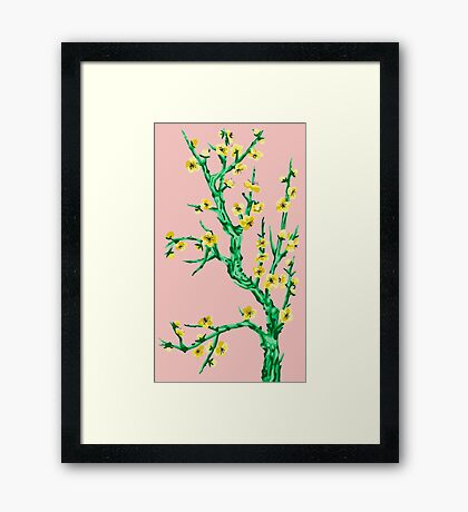 yellow flowers, pink background Framed Print