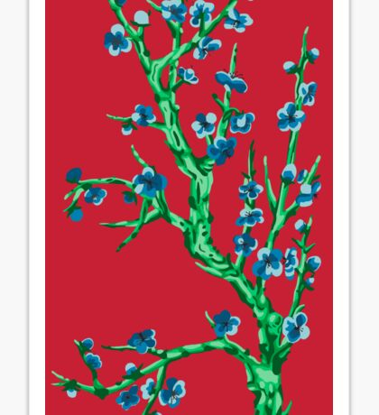 blue flowers and blood Sticker
