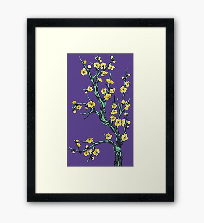 golden flowers on a mossy tree  Framed Print