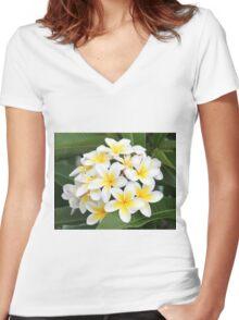 frangipani flower Women's Fitted V-Neck T-Shirt
