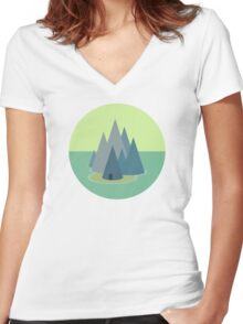Abstract Island - Geometric Landscape Women's Fitted V-Neck T-Shirt