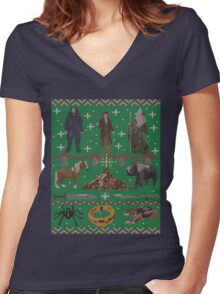 Hobbit Christmas Sweater Women's Fitted V-Neck T-Shirt