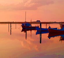 Magical reflection of a small dinghy dory boats by Ron Zmiri