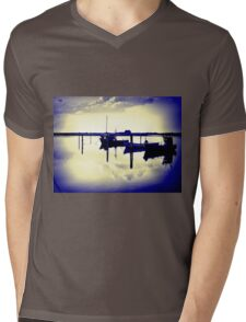 Magical reflection of a small dinghy dory boats Mens V-Neck T-Shirt