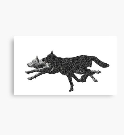 Pixelated wolves Canvas Print