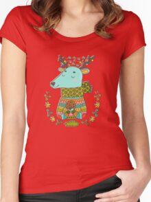 Winter deer Women's Fitted Scoop T-Shirt