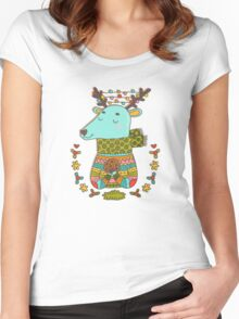 Winter deer Women's Fitted Scoop T-Shirt