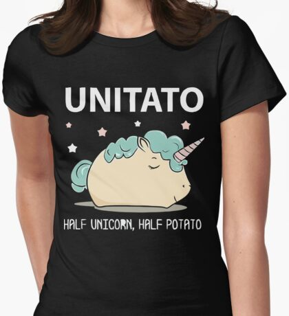 Unitato Half unicorn half Potato shirt Womens Fitted T-Shirt