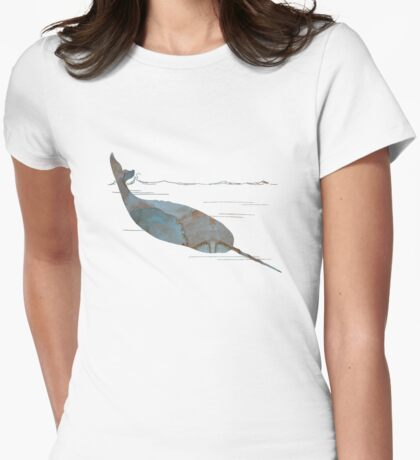 Narwhal Artwork Womens Fitted T-Shirt
