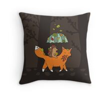 Hedgehog and fox Throw Pillow