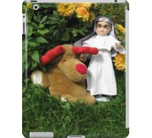 Little Theresa the Child Nun and Pooch (the doorstop) in Our Garden in Romania iPad Case/Skin