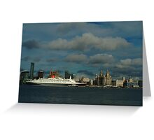 THE QE2 VISITS LIVERPOOL FOR THE LAST TIME-2 Greeting Card