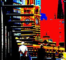 Old couple watching city change by Andrew Wilson