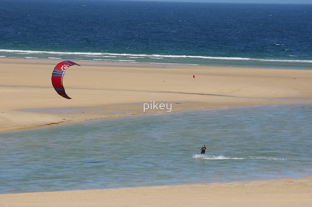 kite surfin blue sand sea  by pikey