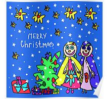 Christmas card with people painted a small child Poster