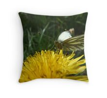 Green Veined White Butterfly Throw Pillow