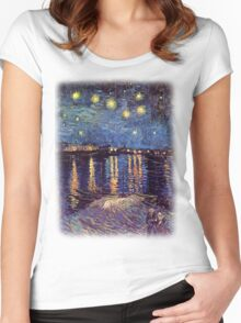 Starry Night over the Rhone, Vincent van Gogh Women's Fitted Scoop T-Shirt