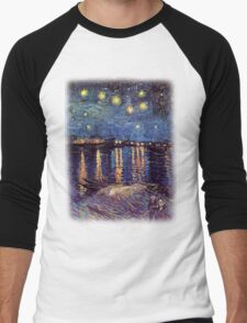 Starry Night over the Rhone, Vincent van Gogh Men's Baseball ¾ T-Shirt