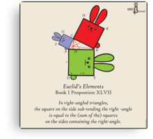 Euclid's Elements Book 1 Prop 47 GeoBunnies Canvas Print