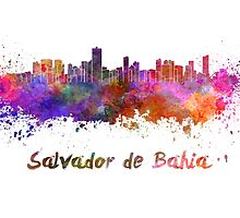 Salvador de Bahia skyline in watercolor by paulrommer