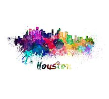 Houston skyline in watercolor Photographic Print