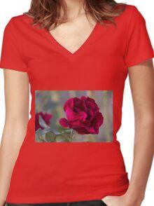 roses in the garden Women's Fitted V-Neck T-Shirt