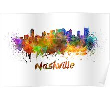 Nashville skyline in watercolor Poster