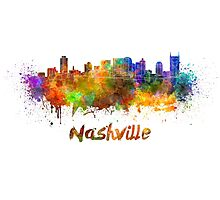 Nashville skyline in watercolor Photographic Print