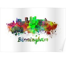 Birmingham AL skyline in watercolor Poster