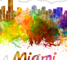 Miami skyline in watercolor Sticker