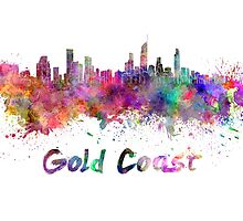 Gold Coast skyline in watercolor by paulrommer
