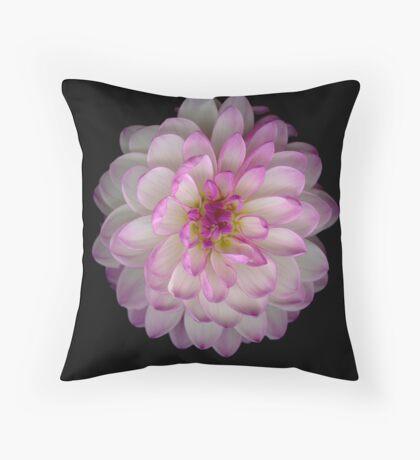 Pink and white Dahlia Throw Pillow