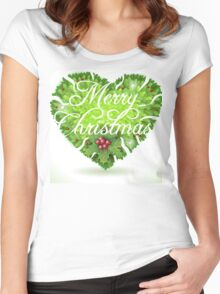 Christmas Holly Leaves Heart Women's Fitted Scoop T-Shirt