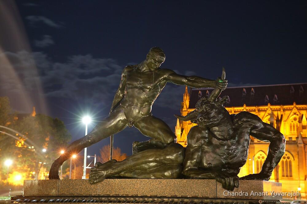 Strength & Honour...Man overcomes Bull by Chandra Anant Yuvarajah