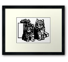 Kittens And Gifts Framed Print