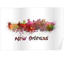New Orleans skyline in watercolor Poster
