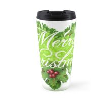 Christmas Holly Leaves Heart Travel Mug