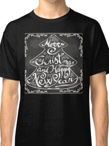 Merry Christmas Blackboard Tree Classic T-Shirt