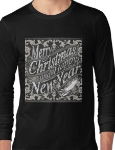 Vintage Greeting Card Text on a Blackboard  Long Sleeve T-Shirt