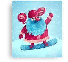 Snowboarding Christmas Metal Print