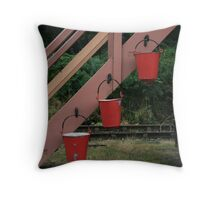 Fire buckets in red Throw Pillow