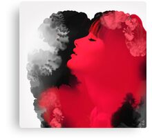Psychedelic Ink Red Girl Canvas Print