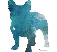Minimalism painting dog watercolor art print, blue bulldog artwork by Joanna Szmerdt